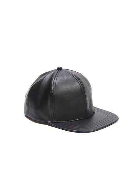 9059c745512fe1 Black Leather Snapback Cap by Nikicio | ERIIN Items | Leather ...