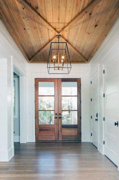 Front Doors Foyer Wood Ceiling Ideas Hallwayideas Modern Foyer Foyer Lighting High Ceiling Wood Doors Interior