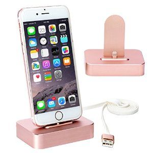 Amazon.com: Apple iPhone Charger Stand [Stable Pure Aluminum Rose Gold iPhone Charger Desktop], Lecxci iphone Charging Dock Cradle [Docking Station] for iphone 6s / 6 plus / 5s / 5 / 5c (Rose Gold for iPhone): Cell Phones & Accessories