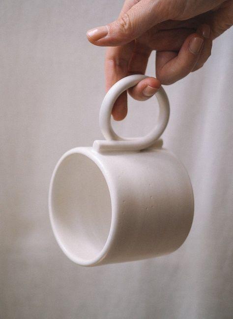 Image of Loop handle mug Minimalist handmade home decor, ceramic, vase and texti. Image of Loop handle mug Minimalist handmade home decor, ceramic, vase and texti.