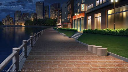 City Street Night By Vui Huynh Episode Interactive Backgrounds Anime Backgrounds Wallpapers Anime Scenery