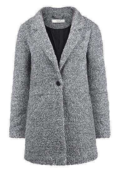 ONLY JDY Berta Boucle Damen Wollmantel /Übergangsjacke Mantel Jacke aus Boucl/é mit Reverskragen