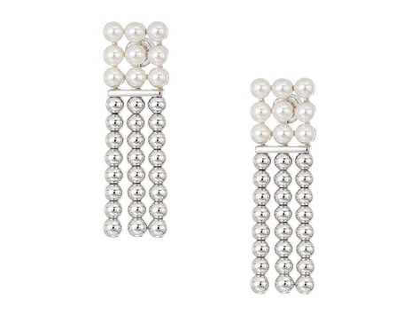 Majorica 4mm Round Pearls on Steel Beaded Long Earrings (White) Earring. Your day may have been long  but you're about to own the evening in your Majorica earrings. Drop earrings feature steel beaded tassels topped with 4mm round pearls. Silver-plated steel finish. Post back. Imported. Measurements: Width: 1 2 in Height: 1 7 10 in Weight: 0.2 oz #Majorica #Jewelry #Earring #GeneralEarring #White