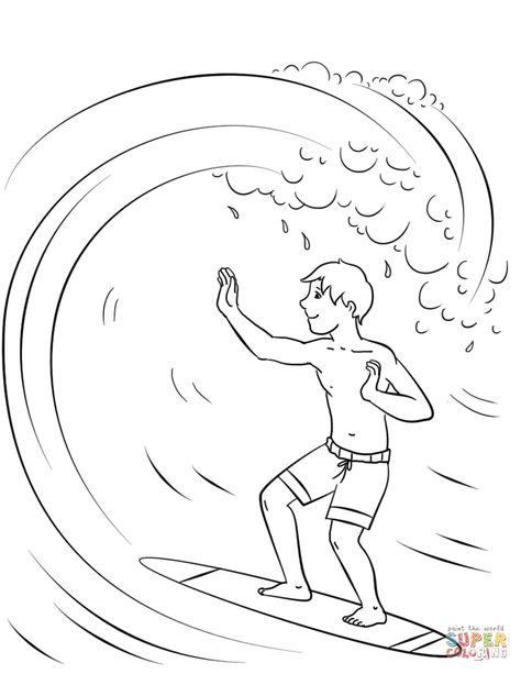 Surfing Boy Coloring Page Free Printable Coloring Pages