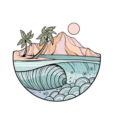 art wallpaper A wave from Hawaii. Cute Wallpaper Backgrounds, Aesthetic Iphone Wallpaper, Cute Wallpapers, Wallpaper Art, Photo Wall Collage, Collage Art, Kritzelei Tattoo, Tattoos, Photowall Ideas