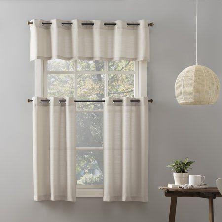 Mainstays Elevated Solid 3 Piece Kitchen Curtain Set Beige In 2021 Curtains Kitchen Window Decor Kitchen Curtains
