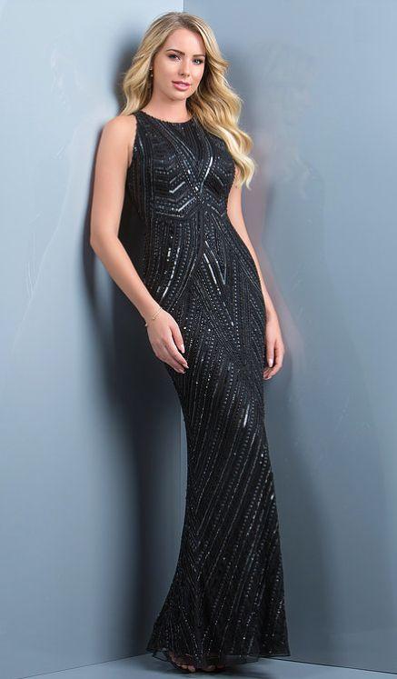 e04ddafbda4 Scala 48783 gorgeous fully beaded high neckline sheath gown with illusion  back.