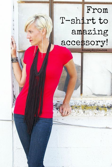 From tshirt to fringe necklace or scarf! - BrassyApple.com refashion