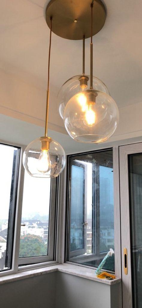 Lot De 3 Lukloy Loft Suspension Lumineuse Lustres Argent Or Verre