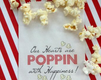 Personalized Popcorn Bags For Weddings Wedding Favor B Irthday Party Pinterest