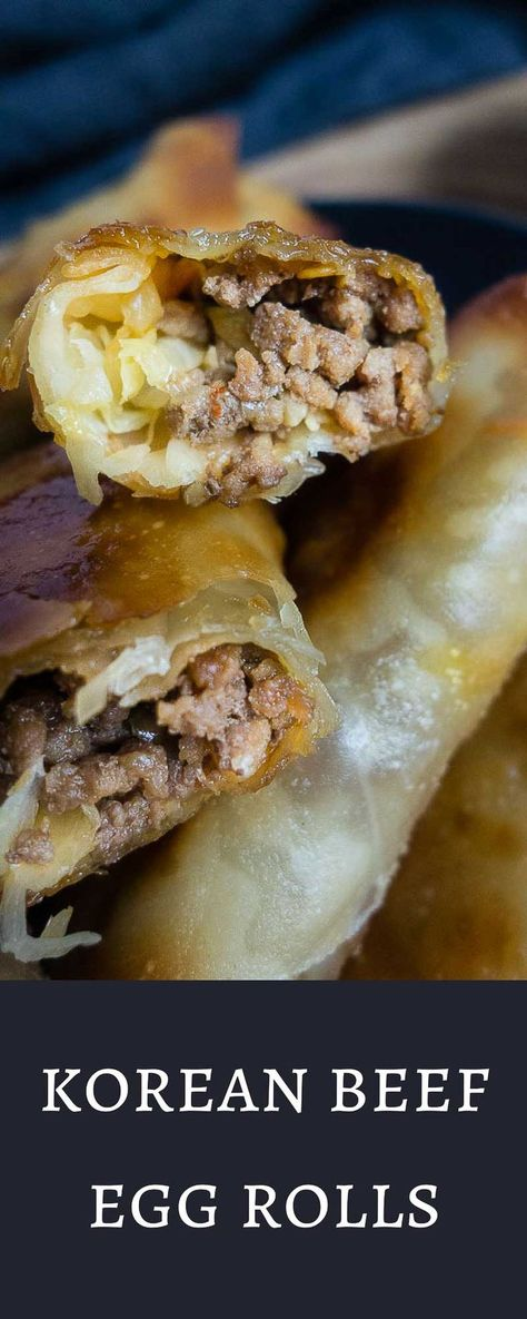 How To Make Baked Korean Beef Egg Rolls Recipe Egg Rolls Homemade Egg Rolls Korean Beef