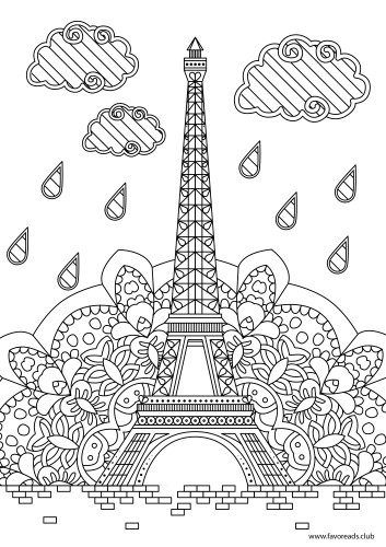 Eiffel Tower Printable Adult Coloring Pages Coloring Books