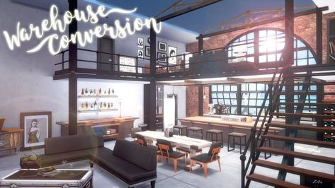 Sims City Living, Sims 4 Loft, Warehouse Conversion, Loft Conversions, Apartment Layout, Sims 3 Apartment, The Sims 4 Lots, House Plans With Pictures, Sims House Design