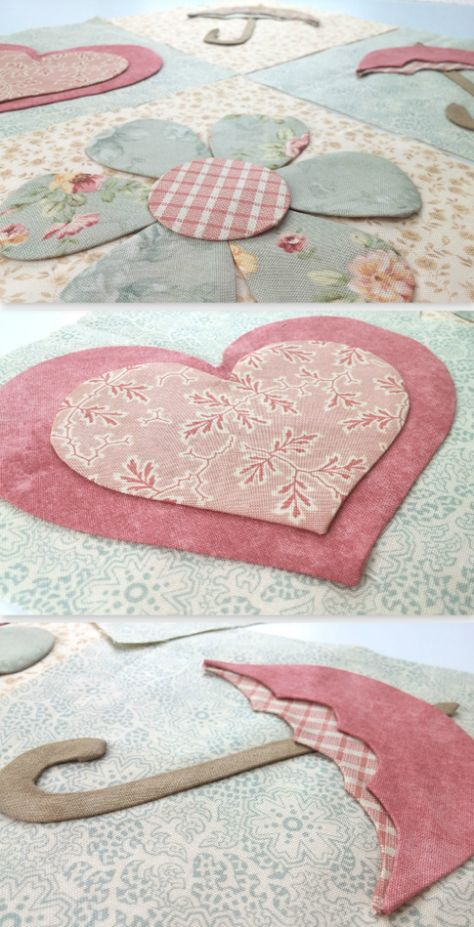 Today we are excited to launch a new Block of the Month program exclusively at Shabby Fabrics: English Rose!Inspiration for quilters, crafters and makersHeart, Flower and Umbrella Hand Applique, Machine Applique, Applique Patterns, Applique Quilts, Applique Designs, Sewing Patterns, Applique Ideas, Quilting Tutorials, Quilting Projects