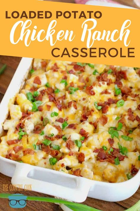 chicken casserole dinners Loaded Potato Ranch Chicken Casserole is a whole dinner in one! All topped with melty cheese and bacon. It is heaven on a plate! Dinner Casserole Recipes, Potatoe Casserole Recipes, Easy Dinner Recipes, Loaded Potato Casserole, Healthy Casserole Recipes, Casserole Dishes, Fall Recipes, Chicken Bacon Ranch Casserole, Healthy Chicken Casserole