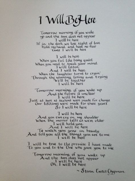11 x 14 Steven Curtis Chapman song I Will Be Here  Wedding image 0