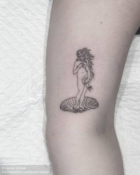 Teeny weeny birth of Venus for Kayla! Venus Tattoo, Aphrodite Tattoo, Pretty Tattoos, Beautiful Tattoos, Cool Tattoos, Tatoos, Mini Tattoos, Small Tattoos, Inner Arm Tattoos