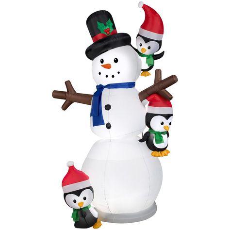 Gemmy 7 ft. Inflatable Animated Swaying Snowman with Penguins