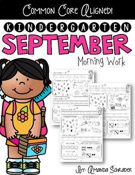 Kindergarten Morning Work- September   Best of Back to