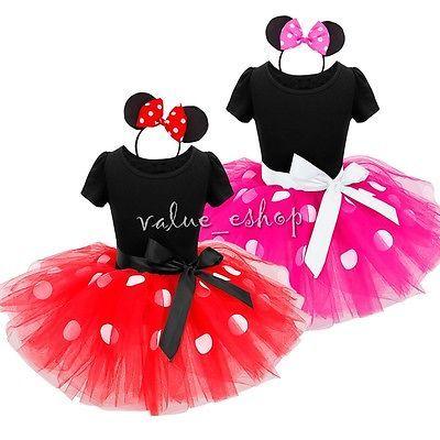 Baby Kids Girls Cartoon Mouse Birthday Party Princess Costume Ballet Tutu Dress
