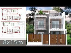 House Plans 7x11m Plot 8x15 With 4 Bedrooms This Villa Is Modeling By Sophoat With 2 Stories Level It S Has 4 Bedr House Design Home Design Plan House Plans