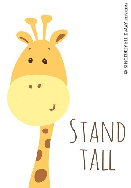 Stand Tall Giraffe Baby Shower And Nursery Wall Art Gift