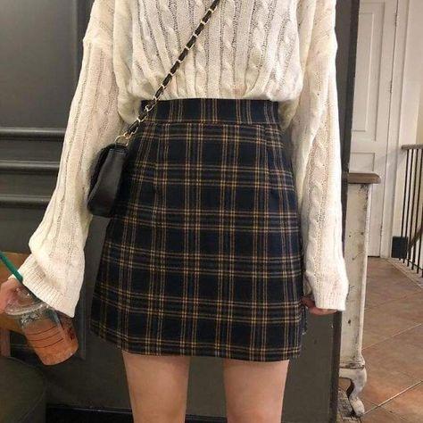 Women Retro Plaid Mini Skirt - Yellow / 2XL