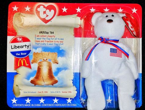 afbc1108dd7 Liberty The Bear Ty Beanie Babies 1996 New in Box from McDonald s ...