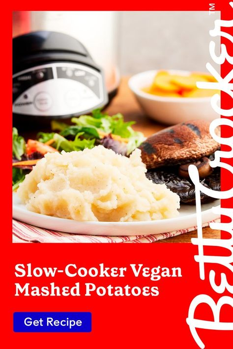 Save some time in the kitchen with our Slow-Cooker Vegan Mashed Potatoes. Pin today for a delicious side dish everyone can enjoy.