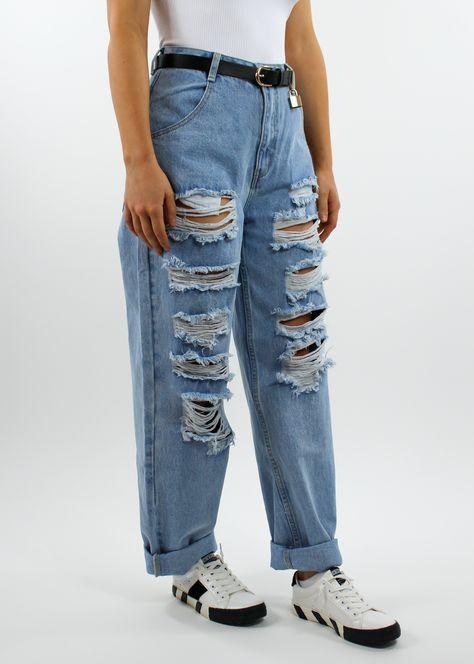 Tear It Up Boyfriend Jeans ★ Light Wash Denim - Small