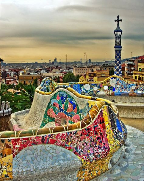 Park Guell by Antoni Gaudi in Barcelona, Spain. Description from pinterest.com. I searched for this on bing.com/images