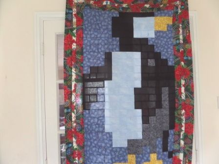The penguin quilt pattern is a bit of fun, with a Christmas border to give him a festive feel. Easy to make with squares only. Small enough - a quick make