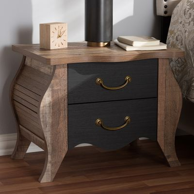 Mael Black And Oak Wood 2 Drawer Nightstand 2 Drawer Nightstand Drawer Nightstand Furniture