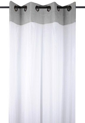 5423e2150f5fdc Rideau Voilage charme couleur gris rayé blanc avec dentelle 135x260cm à  œillets 100% coton ANGELE GRIS - Infos et Dimensions Longueur   260 cm -  Largeur ...