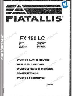 Fiat Allis Excavator Model Fx150lc Parts Catalog Parts Catalog Fiat Excavator
