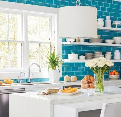 6 Beautiful Capri Blue Rooms And Ideas To Steal From Each Unique Kitchen Backsplash Classic Backsplash Blue Kitchens