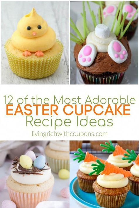Here are 12 of the most adorable Easter cupcake recipe ideas!  Make these cute and delicious treats for your Easter celebration. #eastercupcakeideas #easter #cupcakes #easterrecipes #holidayrecipes #cupcakedecorating #dessertideas #partyfoods #brunchideas #baking #cupcakerecipes