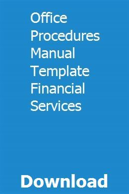 Office Procedures Manual Template Financial Services pdf download