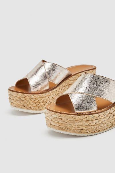 Zdjecie 6 Skorzane Klapki Na Koturnie Z Zara Sandal Espadrille Espadrilles Shoes