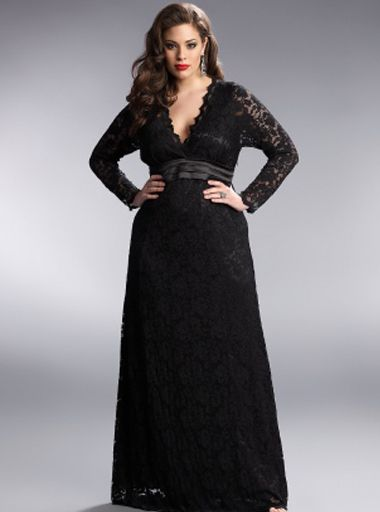 Plus Size Dresses, black lace dress, with vintage hair and ...