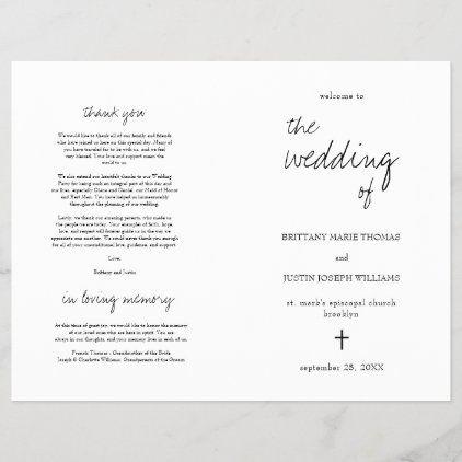 Brittany Elegant Christian Folded Wedding Program Zazzle Com In 2020 Wedding Programs Wedding Order Of Service Wedding Order