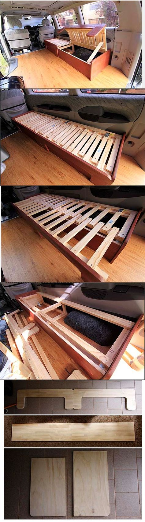New idea for the benches in the tinker wagon! DIY sofabed / http://www.vagabonderz.com/building-the-sofabed/