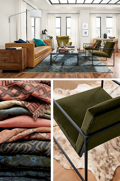 Design your dream living space with modern furniture and home decor. Rug, sofa, accent chair, floor lamp, coffee table, throw pillows -- we've got you covered!