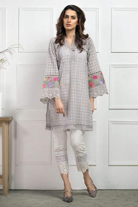 This chikan shirt with embroidered sleeves is a definite summer staple. Its chic and comfortable at the same time.