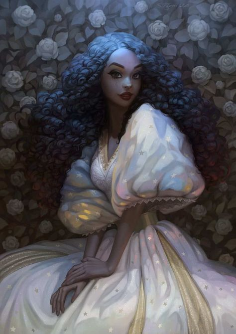 "This is a fanart of Princess Winter from 's ""The Lunar Chronicles"". I drew this piece as a demo for my new tutorial. In this lesson, I show how my creative process usually goes. I draw a beautiful princess with beautiful hair and in a Black Girl Art, Black Women Art, Black Girl Magic, Black Art, Fantasy Princess, Fantasy Girl, Princess Art, Arte Digital Fantasy, Character Inspiration"