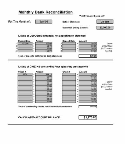 Bank Reconciliation Spreadsheet - Microsoft Excel Banks - blank bank reconciliation template