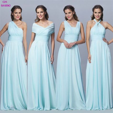 CX SHINE Custom Color Size Chiffon long Convertible bridesmaid dresses Blue pink ribbon wedding Prom party dress Plus Vestidos