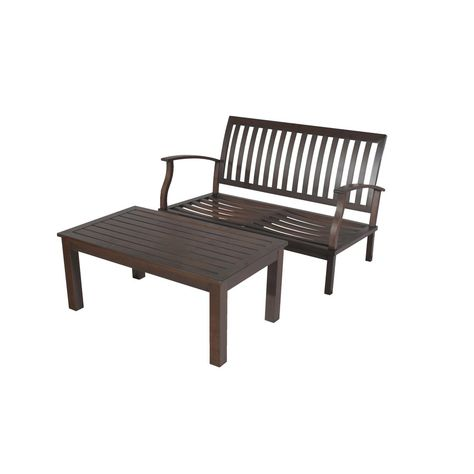 Enjoyable Shop Allen Roth 2 Piece Gatewood Brown Aluminum Patio Onthecornerstone Fun Painted Chair Ideas Images Onthecornerstoneorg