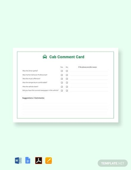 Free Cab Comment Card Template In 2020 Business Card Template Design Card Template Make Business Cards