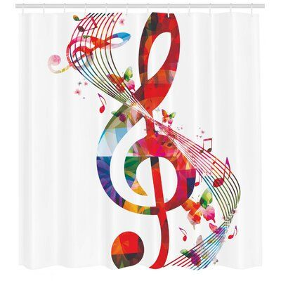 East Urban Home Music Shower Curtain Set Hooks Shower Curtain